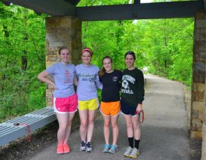 Four Girls Getting Ready to Go Running in Geauga County Park